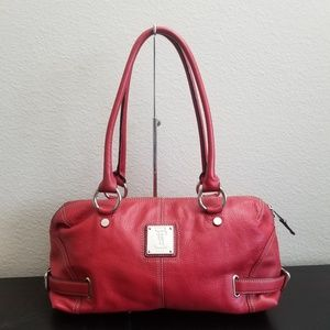 TIGNANELLO Red Textured Leather Tote